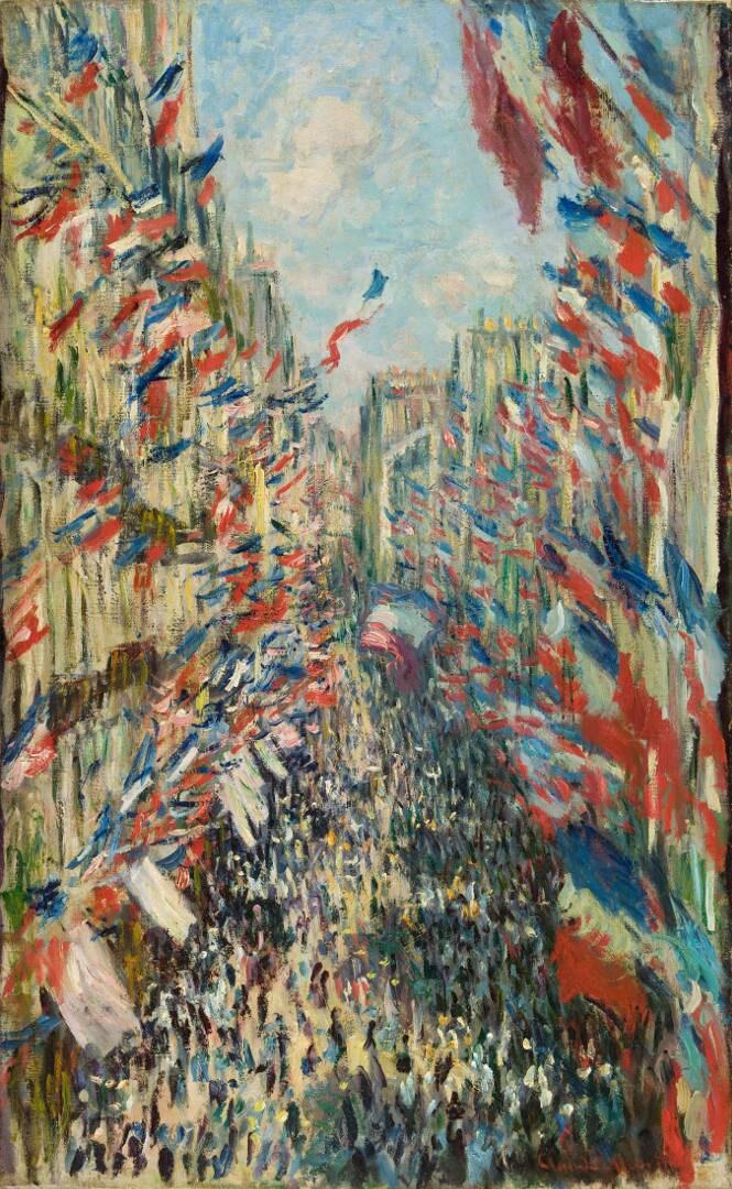 La Rue Montorgueil à Paris. Fête du 30 juin 1878