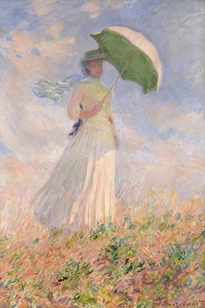 Essai de figure en plein-air: Femme à l'ombrelle tournée vers la droite