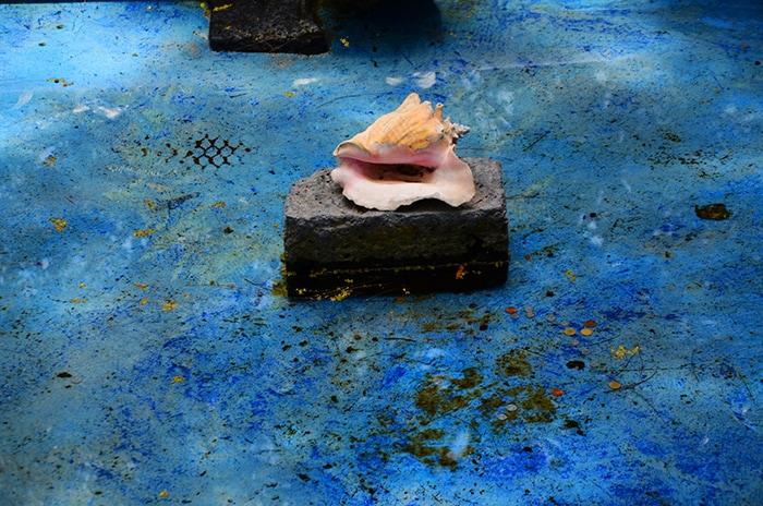 La conchiglia nella fontana del giardino
