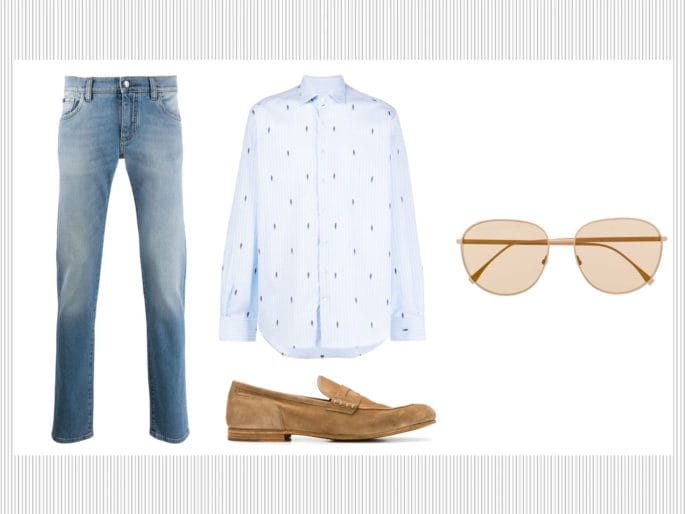 Mocassini, camicia stampata e jeans slim fit