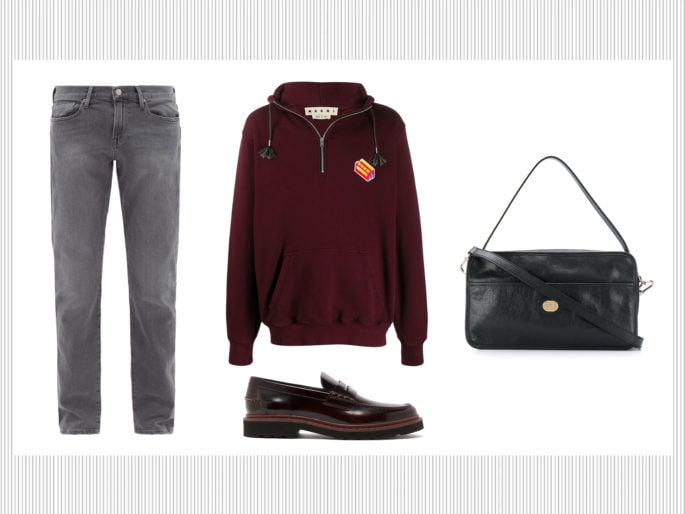 Mocassini, felpa e jeans grigi