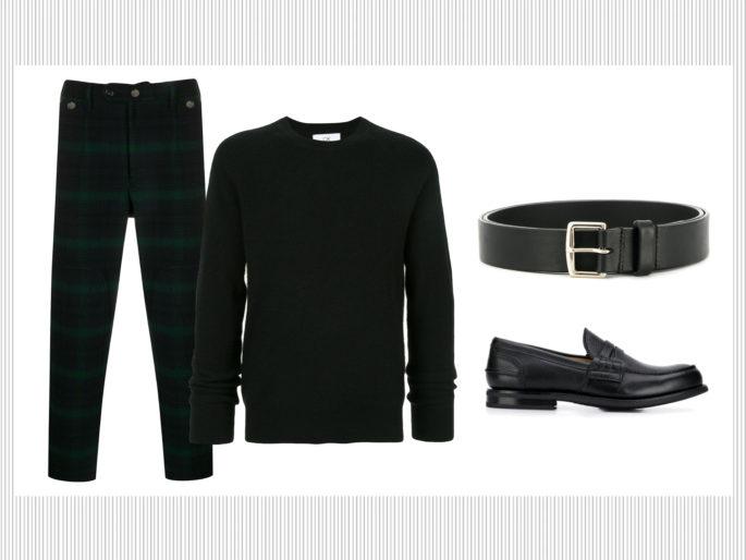 Mocassini, pullover e pantaloni a quadri