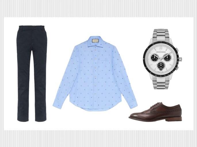 Pantaloni chino, camicia e stringate