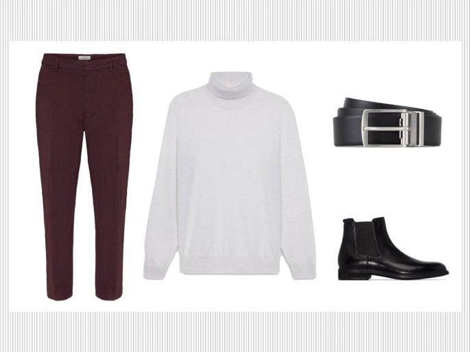Pantaloni chino, cardigan e chunky sneakers